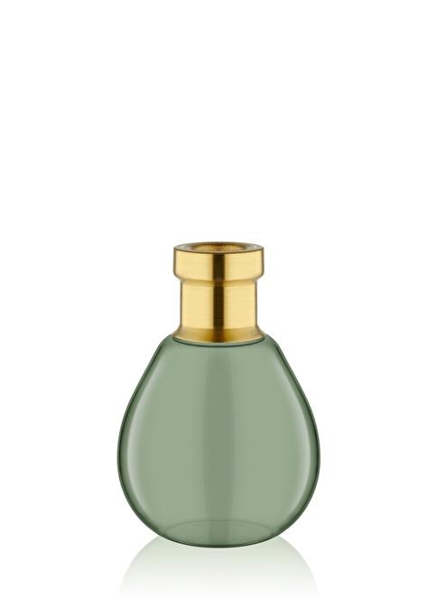 The Mia Cam Vazo Yeşil Gold Dekorlu 14*9 Cm Altın